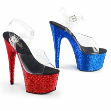 Pleaser Adore-708HQSQ Glittery Ankle Strap Sandal