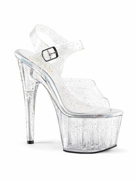 Pleaser Adore-708MMG Glittery Ankle Strap Sandal