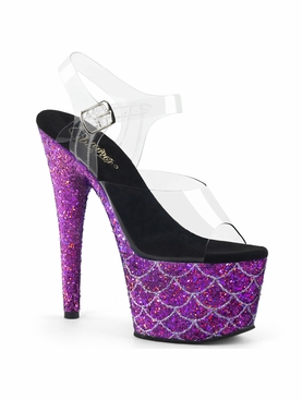 Pleaser Adore-708MSLG Ankle Strap Sandal W/Mermaid Scales