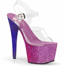 Pleaser Adore-708Ombre Glittery Ankle Strap Sandal