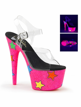 Pleaser Adore-708UVGSTR Ankle Strap Sandal With UV Reactive Glitter