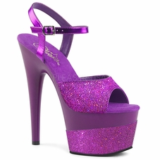Pleaser Adore-709-2G Ankle Strap Sandal W/Glitter