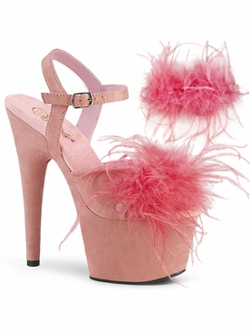 Pleaser Adore-709F Ankle Strap Sandal W/Removable Feathers