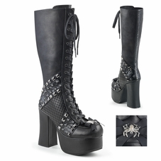 Pleaser Charade-150 Studded Lace-Up Knee High Boot