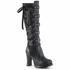 Pleaser Crypto-106 Corseted 5 Buckle Knee Boot