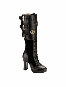 Pleaser Crypto-302 Steampunk Knee Boot