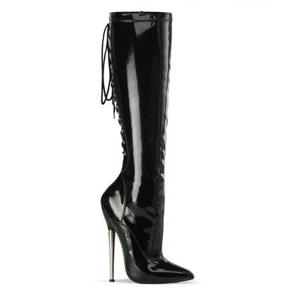 Pleaser Dagger-2064 Stretch Lace Up Knee High Boots