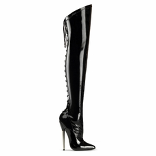 Pleaser Dagger-3060 Back Lace-Up Thigh High Boots