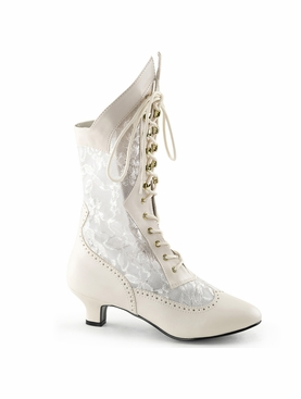Pleaser Dame-115 Lace Victorian Ankle Boots
