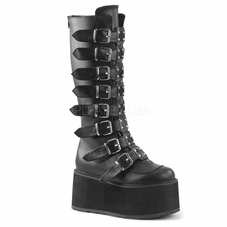Pleaser Damned-318 Buckle Strap Knee High Boots