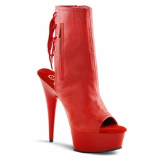 Pleaser Delight-1018 Open Toe/Heel Back Lace-Up Ankle Boot