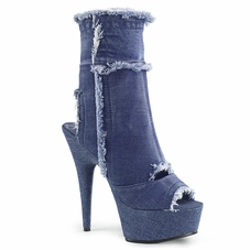 Pleaser Delight-1030 Stretch Denim Cutout Ankle Boot