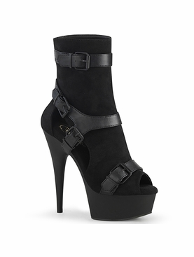 Pleaser Delight-1037 Peep Toe Ankle Boot W/Cutouts