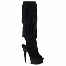 Pleaser Delight-2019 Open Toe/Back Fringed Knee High Boots