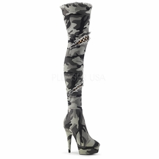 Pleaser Delight-3005 Thigh High Boot W/Patches