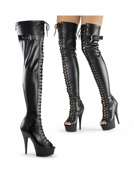 Pleaser Delight-3025 Lace-Up Thigh High Boots