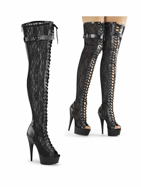 Pleaser Delight-3025ML Mesh And Lace Thigh High Boots
