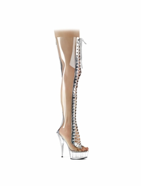 Pleaser Delight-3026 Platform Thigh High Clear Boot