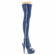 Pleaser Delight-3030 Open Heel/Toe Thigh High Boot