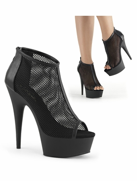 Pleaser Delight-600-12 Mesh Ankle Boot W/Zipper Back