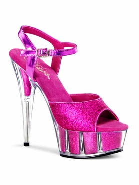 Pleaser Delight-609-5G Glitter Filled Platform Ankle Strap Sandal