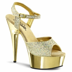 Pleaser DELIGHT-609G  Gold Chrome Platform Ankle Strap Sandal