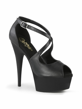 Pleaser Delight-621 Close Back Peep Toe Criss Cross Sandal