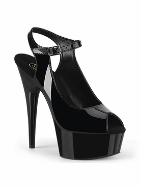 Pleaser Delight-655 Peep Toe Sling Back Ankle Strap Sandal