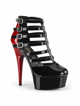 Pleaser Delight-695 Two Tone Buckled Strappy Cage Bootie