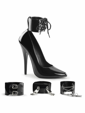 Pleaser Domina-434 Pump With Interchangeable Ankle Cuffs