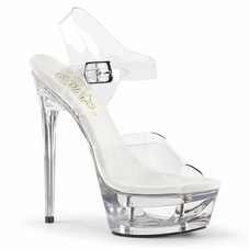 Pleaser Eclipse-608 Cut Out Platform Ankle Strap Sandal