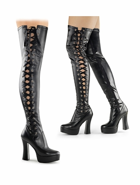 Pleaser Electra-3050 Lace Up Thigh High Boots