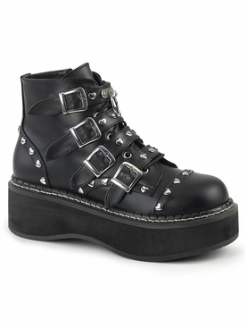 Pleaser Emily-315 Lace-Up Front/ Buckle Strap Ankle Boot