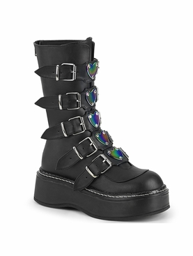 Pleaser Emily-330 Mid Calf Boot W/5 Buckle Straps