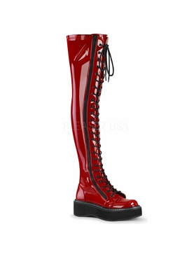 Pleaser Emily-375 Thigh High Lace Up Boot