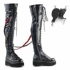 Pleaser Emily-377 Over-The-Knee Lace-Up Boot