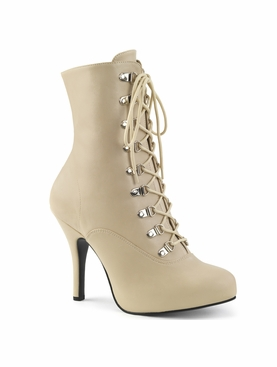 Pleaser Eve-106 Lace Up Front Ankle Boot W/ Side Zipper