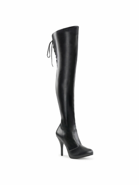 Pleaser Eve-312 Thigh Boot W/Lacing Detail On Back