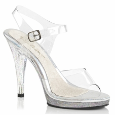 Pleaser Flair-408MG Ankle Strap Sandals With Glitter