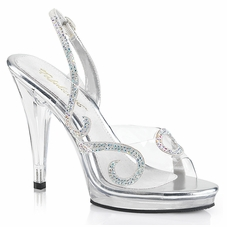 Pleaser Flair-457 Slingback Sandal W/Rhinestone Design On Vamp