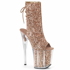 Pleaser Flamingo-1018G Lace Up Back Glitter Ankle Boot