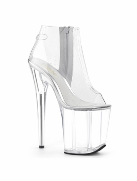 Pleaser Flamingo-1023 Platform Clear Open Toe Ankle Boot