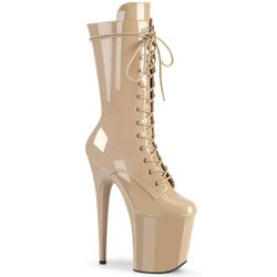 Pleaser Flamingo-1050 Lace-Up Front Mid Calf Boot