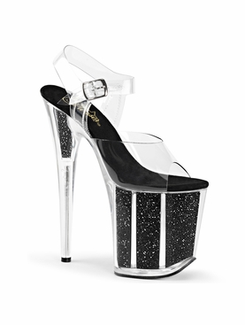 Pleaser Flamingo-808G Glitter Filled Platform Sandal