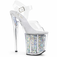 Pleaser Flamingo-808GF Holographic Glitter Ankle Strap Sandal