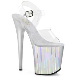 Pleaser Flamingo-808HP-1 Vertical Holographic Ankle Strap Sandal