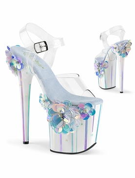 Pleaser Flamingo-808SQFL Exotic Dancer Heels W/Flowers