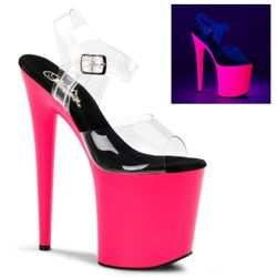 Pleaser Flamingo-808UV Stripper Platform Ankle Strap Shoe