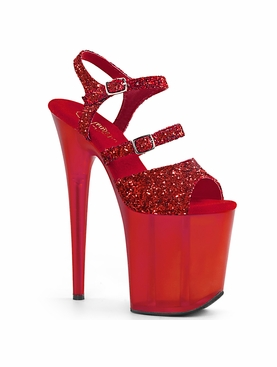 Pleaser Flamingo-874 Glitter Dual Buckle Ankle Strap Sandal