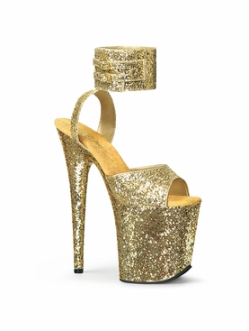 Pleaser Flamingo-891LG Glitter Wide Band Ankle Strap Sandal